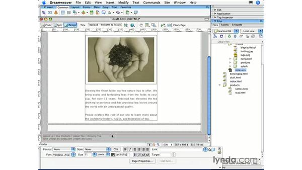 Aligning text and images: Dreamweaver CS3 Essential Training