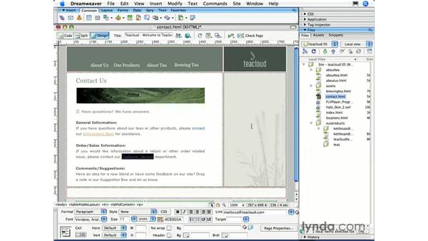 Creating email links: Dreamweaver CS3 Essential Training