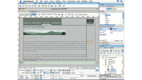Type selectors: Dreamweaver CS3 Essential Training