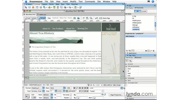 Class selectors: Dreamweaver CS3 Essential Training