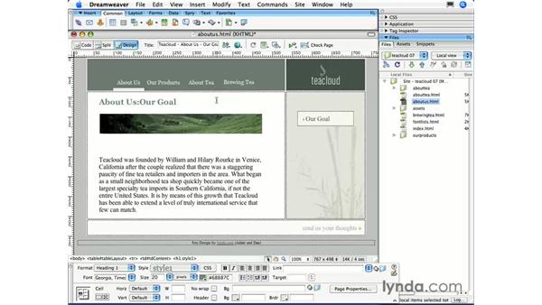 Formatting text with the Property Inspector: Dreamweaver CS3 Essential Training