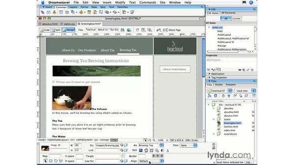 Aligning text: Dreamweaver CS3 Essential Training