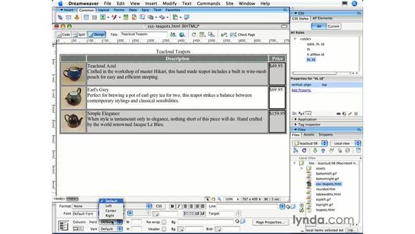 Aligning table content: Dreamweaver CS3 Essential Training