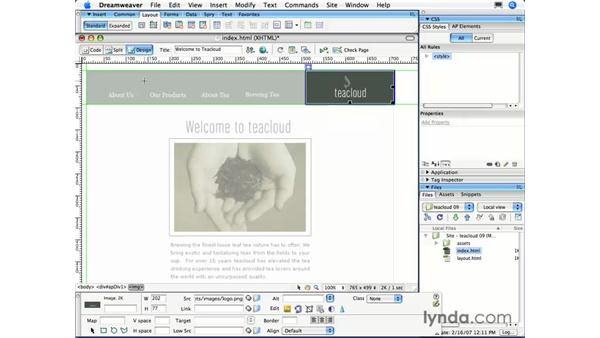 Adding AP div tags: Dreamweaver CS3 Essential Training