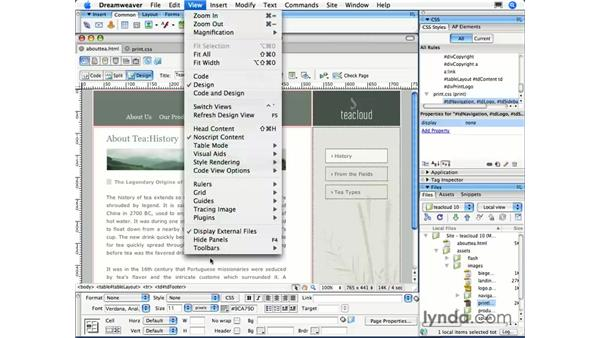 Styling for print: Dreamweaver CS3 Essential Training