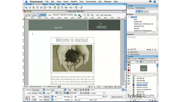 Creating simple rollovers: Dreamweaver CS3 Essential Training