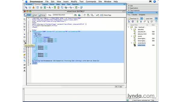The Code toolbar: Dreamweaver CS3 Essential Training