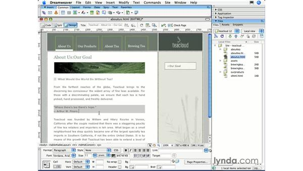 The Quick Tag Editor: Dreamweaver CS3 Essential Training