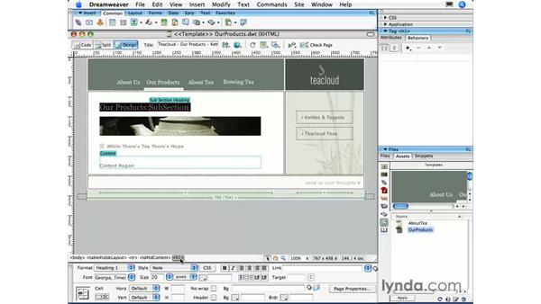 Modifying a template: Dreamweaver CS3 Essential Training