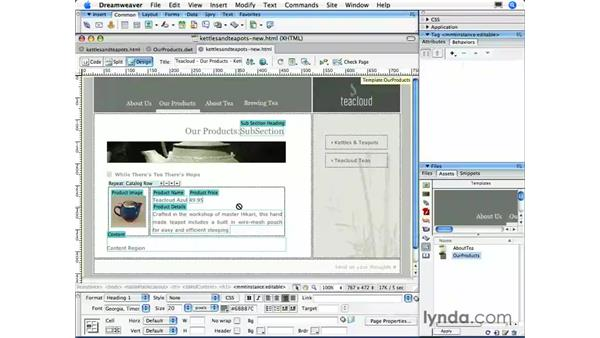 Working with repeating regions: Dreamweaver CS3 Essential Training