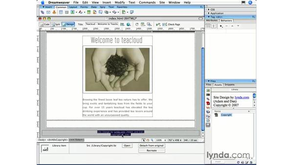 Creating a library item: Dreamweaver CS3 Essential Training