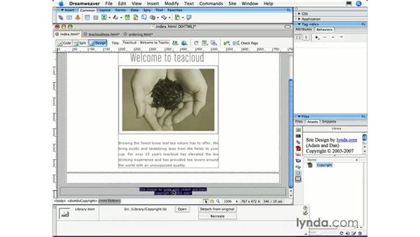 Modifying a library item: Dreamweaver CS3 Essential Training