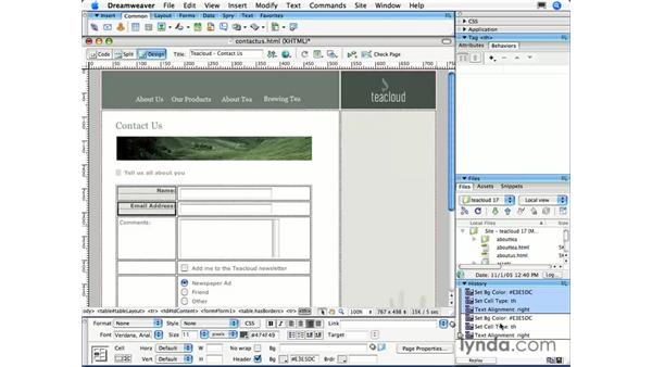 Saving History steps as commands: Dreamweaver CS3 Essential Training