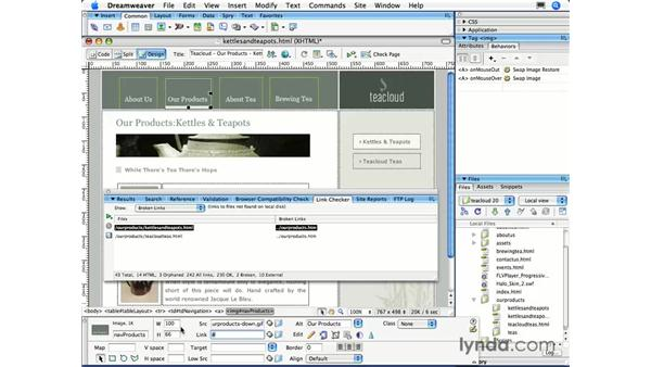 Checking links sitewide: Dreamweaver CS3 Essential Training