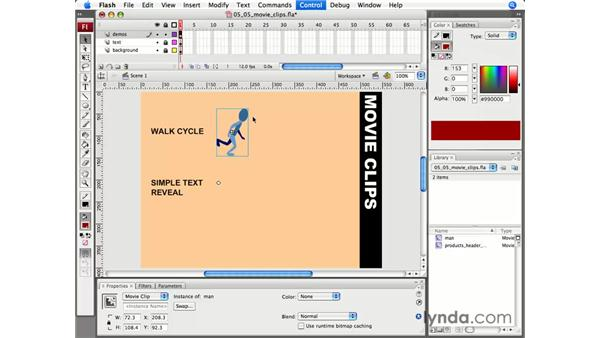 Working with movie clips: Flash CS3 Professional Essential Training
