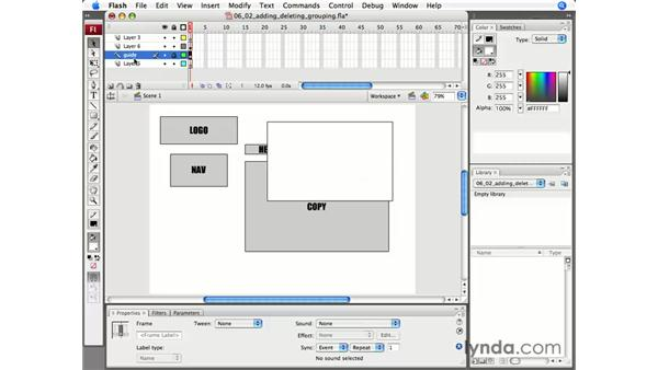 Adding, deleting, and grouping layers: Flash CS3 Professional Essential Training