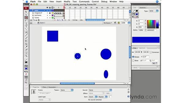 Copying and pasting frames: Flash CS3 Professional Essential Training