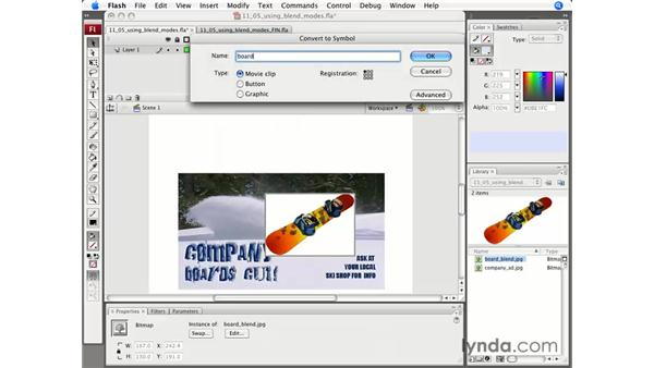 Using blend modes: Flash CS3 Professional Essential Training