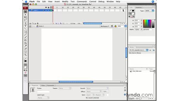 Adding sound to the timeline: Flash CS3 Professional Essential Training