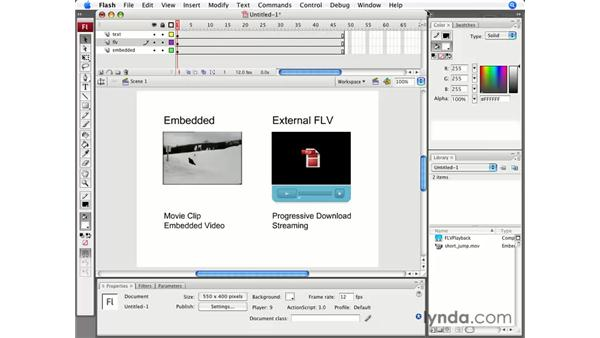 Embedded vs. external: Flash CS3 Professional Essential Training