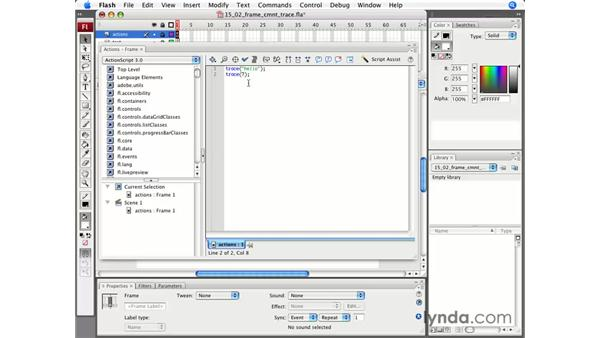 Frame scripts, tracing, and comments: Flash CS3 Professional Essential Training