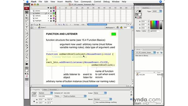 Buttons and EventListeners: Flash CS3 Professional Essential Training