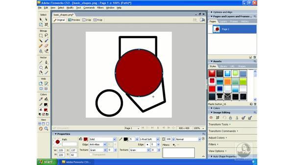 Creating basic shapes: Fireworks CS3 Essential Training