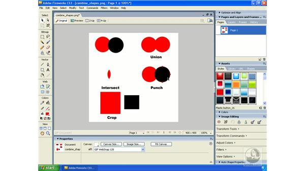 Combining shapes: Fireworks CS3 Essential Training