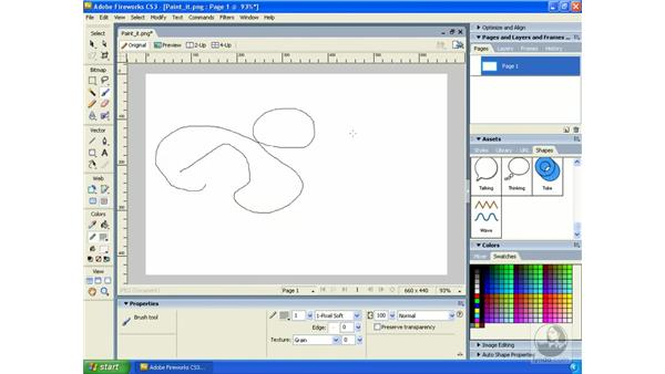 Using the Pencil and Brush tools: Fireworks CS3 Essential Training
