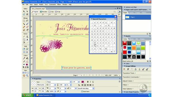 Inserting special characters: Fireworks CS3 Essential Training
