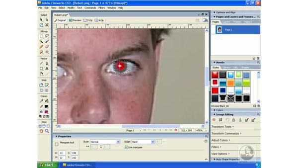 Removing red-eye: Fireworks CS3 Essential Training