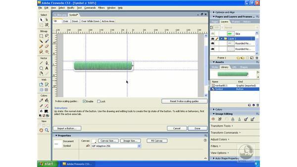 Applying 9-slice scaling : Fireworks CS3 Essential Training