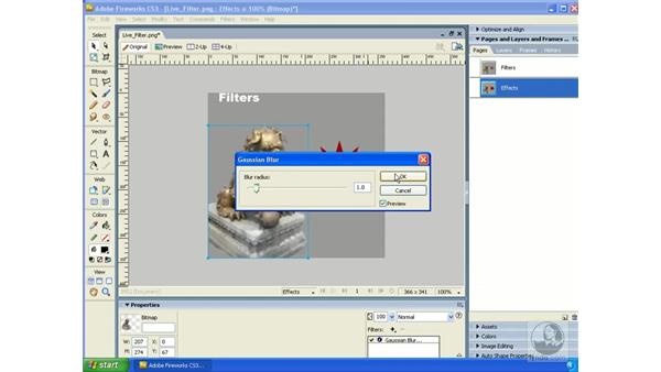 Live effects vs. filters: Fireworks CS3 Essential Training