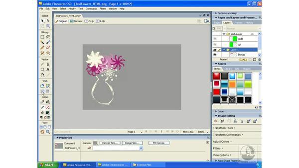 HTML slicing: Fireworks CS3 Essential Training