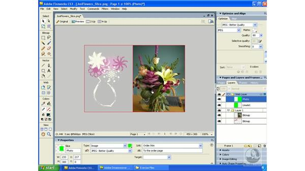 Image slicing: Fireworks CS3 Essential Training