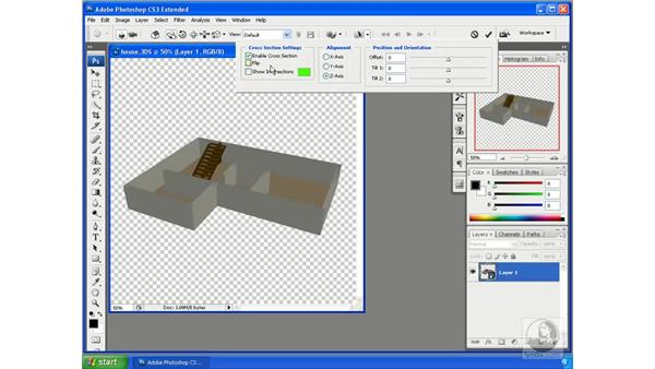 Creating cross sections of 3D objects: Photoshop CS3 Extended for 3D + Video