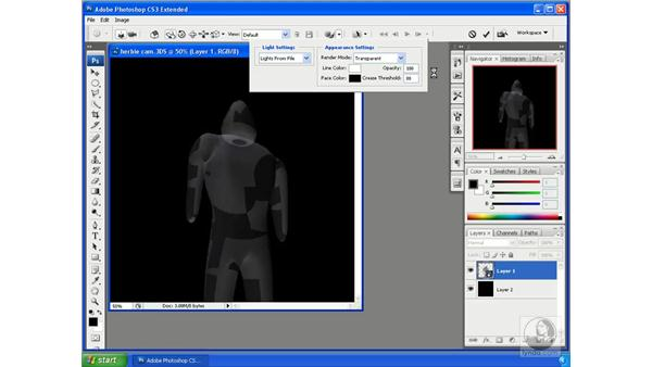 Changing wireframe and shading options: Photoshop CS3 Extended for 3D + Video