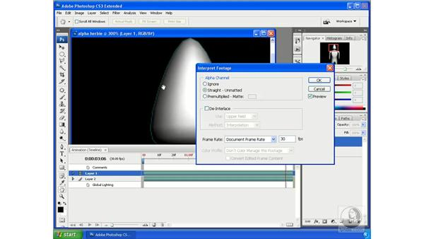 Interpreting footage: Photoshop CS3 Extended for 3D + Video