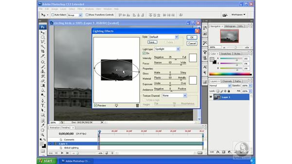 Using lighting effects on video: Photoshop CS3 Extended for 3D + Video