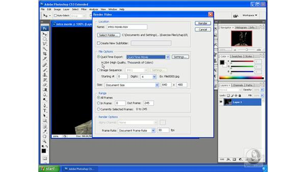 Exporting video from Photoshop: Photoshop CS3 Extended for 3D + Video