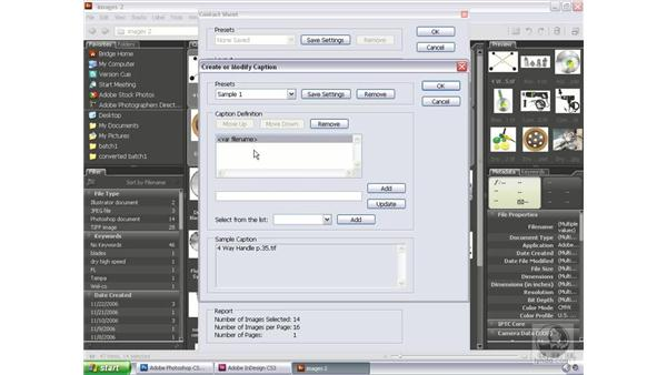 Creating an InDesign contact sheet: Bridge and Version Cue CS3 Essential Training