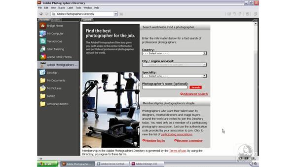 The Adobe Photographers Directory: Bridge and Version Cue CS3 Essential Training