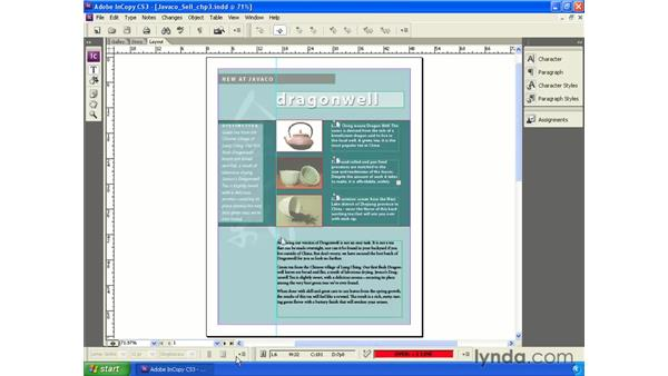 Default panels and toolbars: InCopy CS3 + InDesign CS3 Integration
