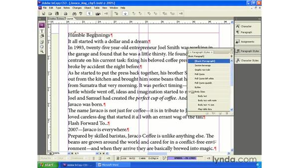 Applying styles for copy fit: InCopy CS3 + InDesign CS3 Integration