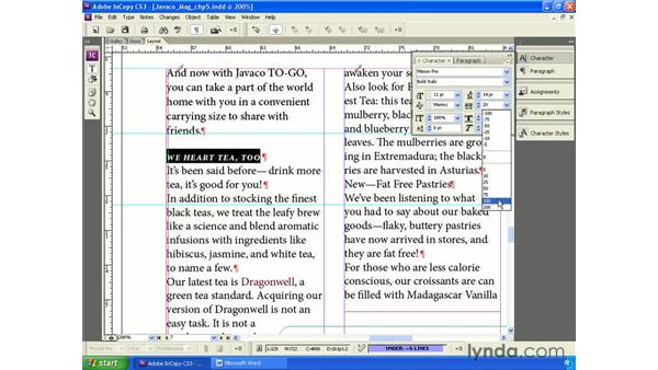 Applying local character formatting: InCopy CS3 + InDesign CS3 Integration