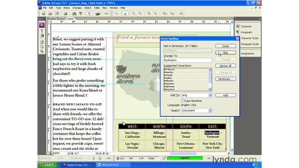 Checking spelling: InCopy CS3 + InDesign CS3 Integration