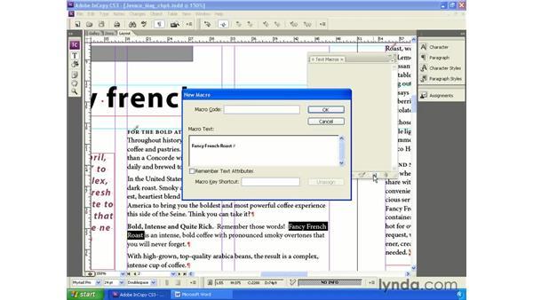 Text macros: InCopy CS3 + InDesign CS3 Integration