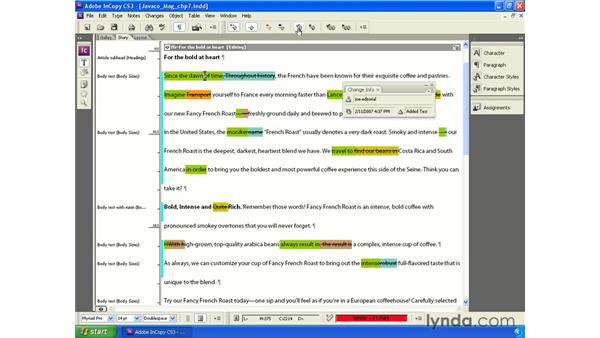 Accepting and rejecting changes: InCopy CS3 + InDesign CS3 Integration