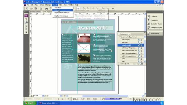 Using the Object menu: InCopy CS3 + InDesign CS3 Integration