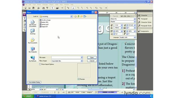 Inserting images into the story: InCopy CS3 + InDesign CS3 Integration